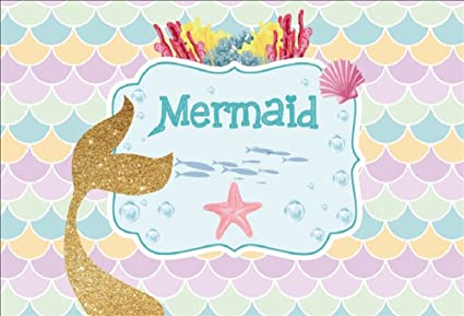 OFILA Mermaid Backdrop 6x4ft Girls Birthday Party Photography Background Girls Mermaid Theme Baby Shower Shoots Mermaid