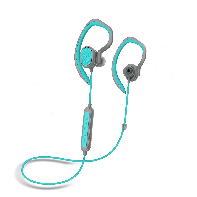 Wireless Sports Headphones Bluetooth Earphones w/Mic HD Stereo Earhook Sweatproof in Ear Earbuds for Gym Running Workout Noise Cancelling Headsets (Blue)