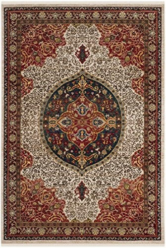 Safavieh Kashan Collection KSN302D Traditional Ivory and Red Area Rug (8' x 10')