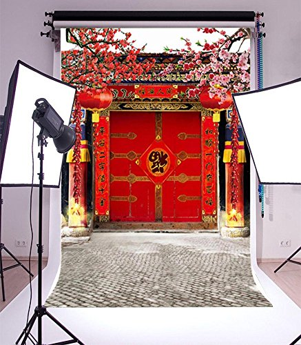 Laeacco 3x5ft Vinyl Photography Backdrop Chinese Classical Theme Spring Festival Scene Photo Background Studio Props for New Year Family Decoration -