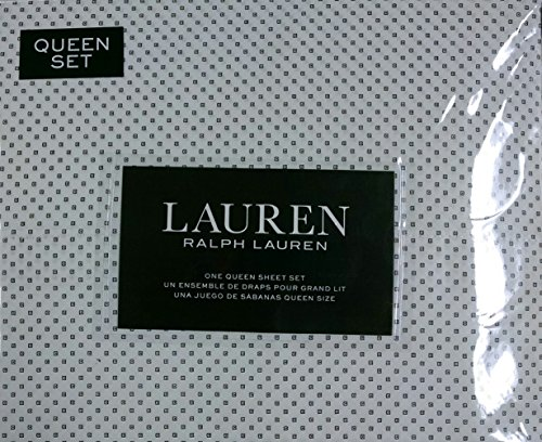 Lauren Ralph Lauren Queen Sheet Set Black Square Geometric Dots on - Ralph Shopper