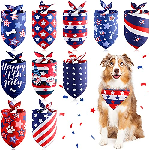 10-Pieces-American-Flag-Dog-Bandana-4th-of-July-Dog-Bandanas-Patriotic-Dog-Bandanas-Triangle-Bib-Scarf-Reversible-Accessories-Independence-Day-Bibs-Dog-Kerchief-Set-for-Small-Medium-Large-Dogs