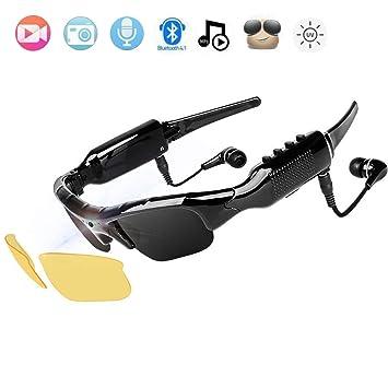 NewZexi Wearable Bluetooth Gafas de Sol 1080p Cámara Gafas Mini DV Auricular Bluetooth Manoslibres Gafas de Conducción Deporte Ciclismo Gafas de Sol ...