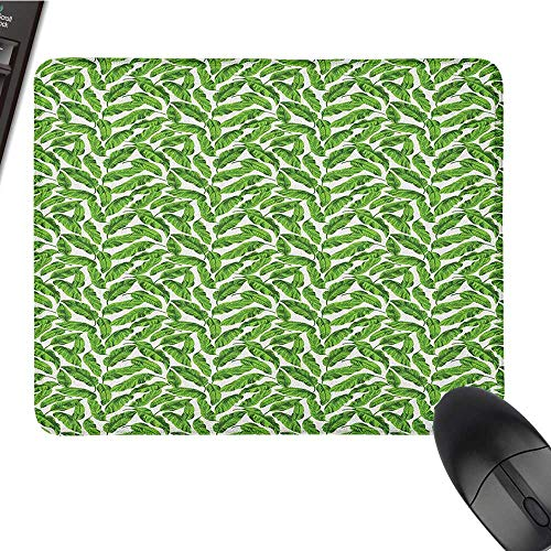 Computer Mouse pad Banana Leaf,Vibrant Foliage from Madagascar Island Lively Green Nature Themed Art, Lime Green White Large Gaming Mouse pad 9.8 x11.8 -