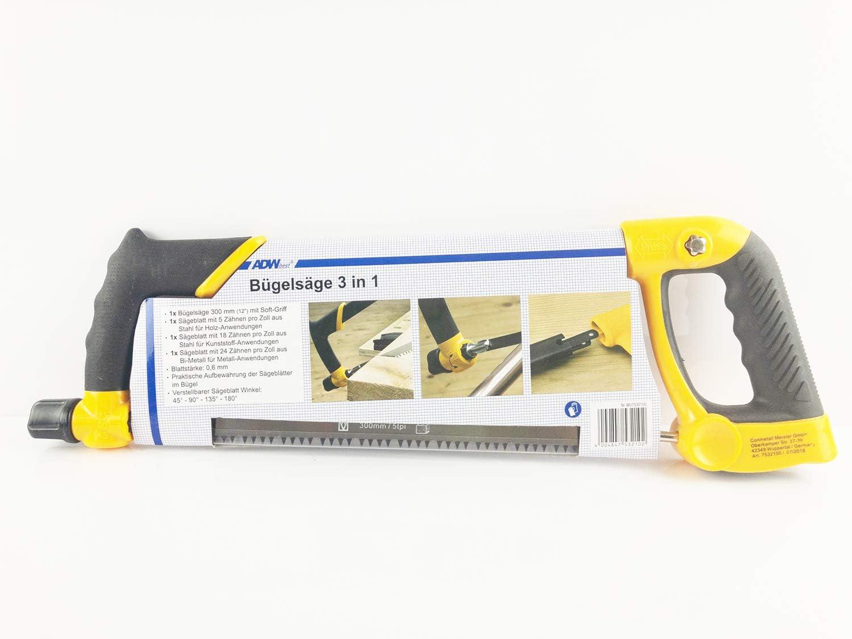 30cm ADW 3-in-1 Verstellbare B/ügels/äge Holzs/äge Hands/äge S/äge Metalls/äge ca