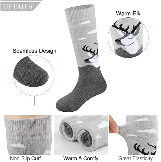 Ski Socks Kids Winter Warm Thermal Snow Ornament Xmas Gift For Boys Girls 2pack //3pack