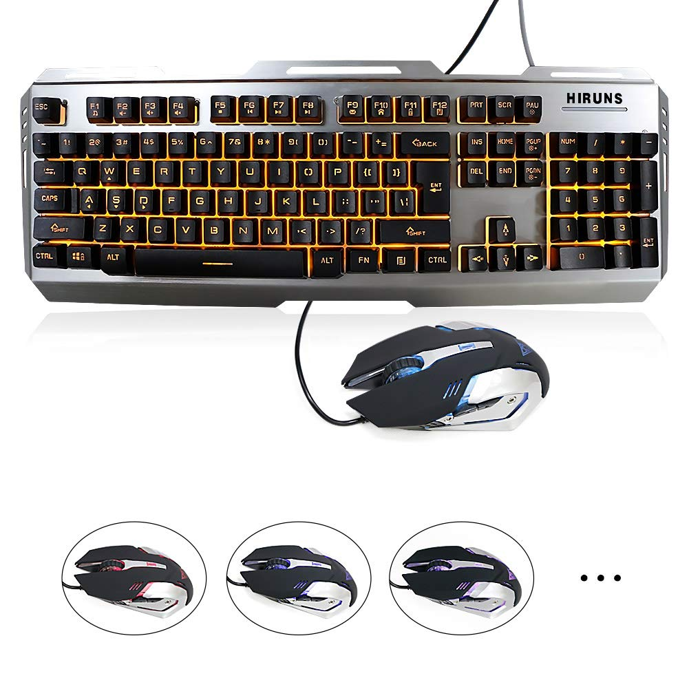Gaming Keyboard Gaming Mouse Combo Yellow LED Backlit Keyboard and Mouse Set USB Wired Waterproof IPX6 Multimedia Keyboard for Office or Gaming