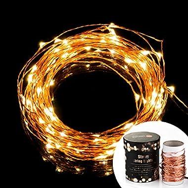 TaoTronics LED String Lights, Waterproof Starry String Lights, Copper Wire Lights (100 Leds, 33 ft,)