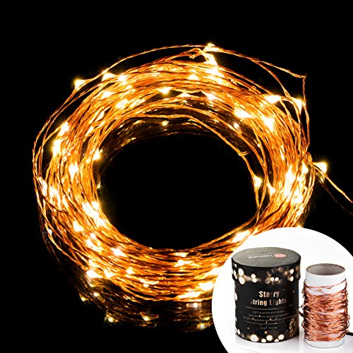 TaoTronics TT-SL032 Indoor Led String Lights 100 leds Warm White Color on Copper Wire 33ft Waterproof LED Starry Light with 5v Power Adapter For Christmas Wedding and Party