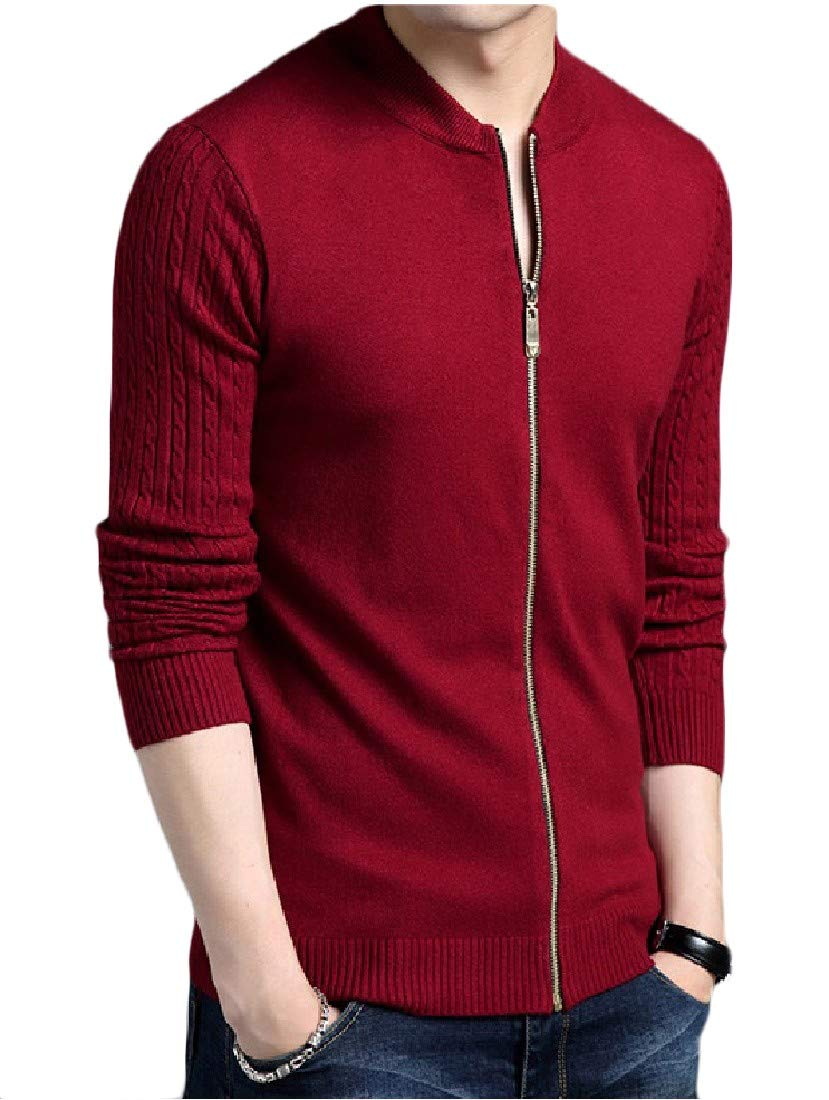 Nicelly Mens Knitting Stand Collar Lounge Solid Cardigan Sweater
