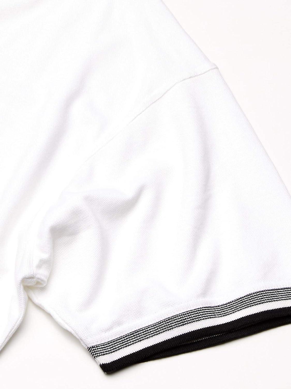 Medium AquaGuard Mens ULTC-8536-Piqu/é Polo with Contrasting Multi-Stripe Trim White//Black