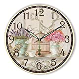 Moonluna Boutique Floral Wooden Wall Clock for Women Silent Clock Wall Decor for Living Room Bedroom 14 inch