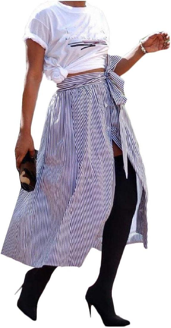 Doufine Falda de Tiro Alto con cinturón a la Moda para Mujer con ...