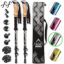 Premium Aluminum Hiking/Trekking Poles With Anti-Shock Tips, Walking Sticks With Cork Grips - Enjoy Pole Trekking In The Great Outdoors