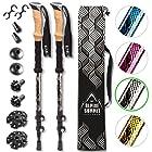 Premium Aluminum Hiking/Trekking Poles With Anti-Shock Tips, Collapsible, Lightweight Walking Sticks With Cork