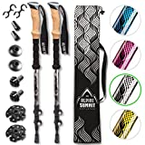 Premium Aluminum Hiking/Trekking Poles With Anti-Shock Tips, Collapsible, Lightweight Walking Sticks With Cork
