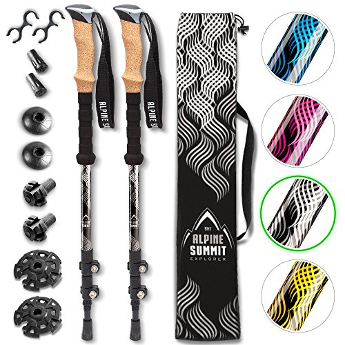 Premium Trekking Poles With Anti-Shock Tips, Collapsible, Lightweight 7075 Aluminum Walking Sticks With Cork Grips - Enjoy Hiking In The Great - Alpine Poles