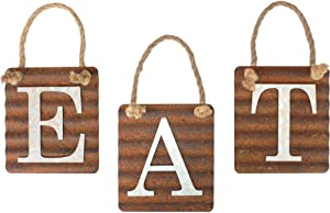 """Rustic Eat Sign with Rope for Kitchen Wall Decor,Eat Galvanized Metal Letter Tile Wall Sign, Primitive Country Rustic Kitchen Farmhouse Home Decor Sign (Each Tile 6"""" x 6"""")"""