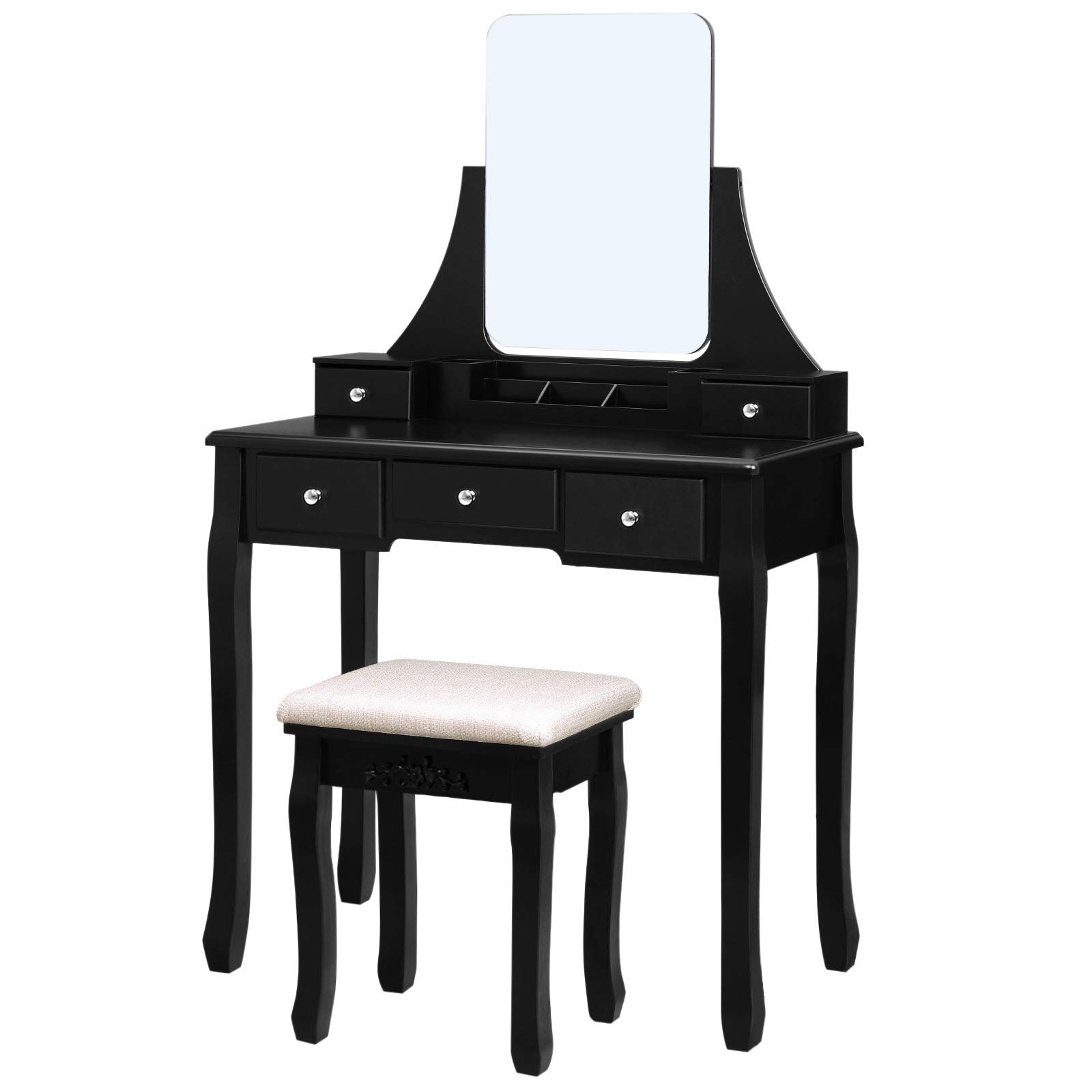 VASAGLE Vanity Table Set with Large Frameless Mirror, Makeup Dressing Table Set for Bedroom, Bathroom, 5 Drawers and 1 Removable Storage Box, Cushioned Stool, Black URDT25BK