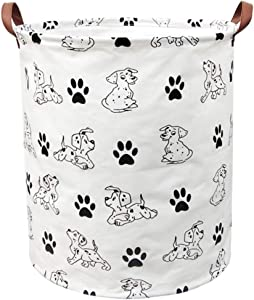 BOOHIT Storage Baskets,Canvas Fabric Laundry Hamper-Collapsible Storage Bin with Handles,Toy Organizer Bin for Kid's Room,Office,Nursery Hamper, Home Decor (Puppies)