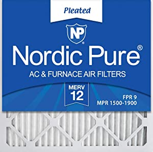 Nordic Pure 20x20x1 MERV 12 Pleated AC Furnace Air Filters 2 Pack