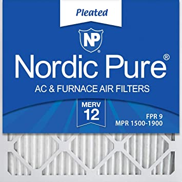 Nordic Pure 12x12x1 MERV 13 Pleated AC Furnace Air Filters 4 Pack