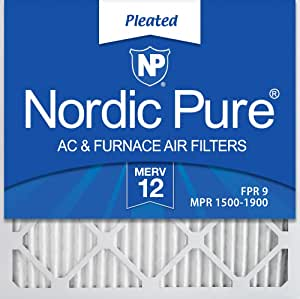 Nordic Pure 18x18x1 Exact MERV 12 Tru Mini Pleat AC Furnace Air Filters 2 Pack