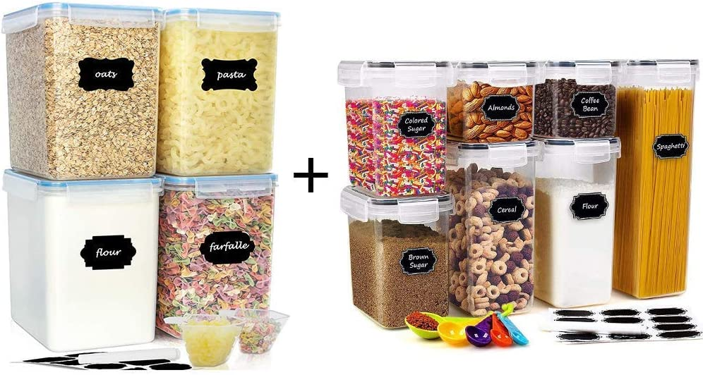buways 4PCS Extra Large 5.5 Qt Airtight Food Storage Containers + 7-Piece Kitchen & Pantry Organization Containers55.98