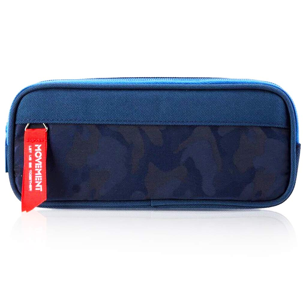 Enlike Big Capacity Pencil Case for Boys and Girls, Zippered Triple Pocket Lightweight Waterproof Canvas Pencil Cases, Navy Blue