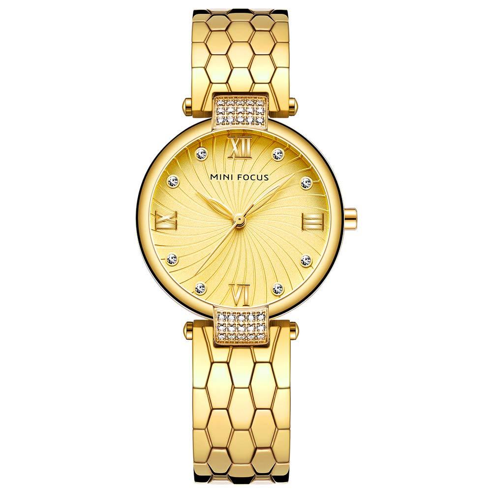 Women s Stainless Steel Watch, Women s Crystal Watch, MINI FOCUS Leisure Luxury Waterproof Watch. 33MM, Suitable for Most Women.