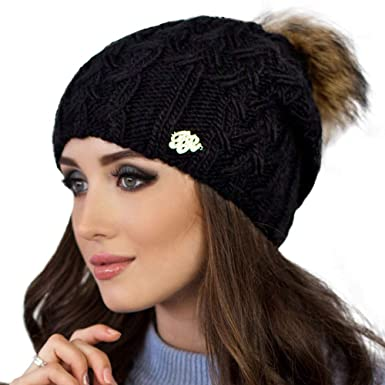 Braxton Knit Hat for Women - Fleece Fur Pom Beanie - Winter Merino ... 0dff73b59ca