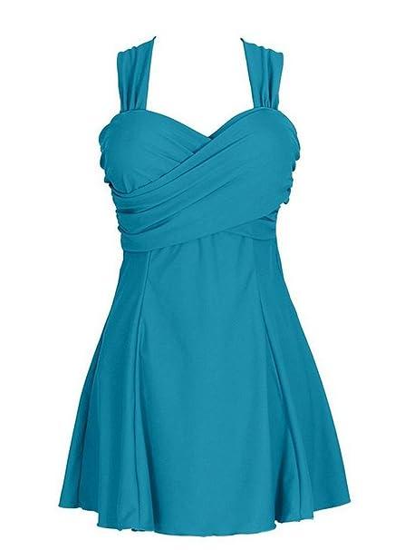 Damen UV schutz einteiler Badeanzug swimwear Badekleid strandkleid Tankini  Wassersport Grün 6XL 922ca90163