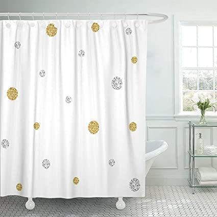 Image Unavailable Not Available For Color Staropor Shower Curtain Yellow Polka Gold And Silver