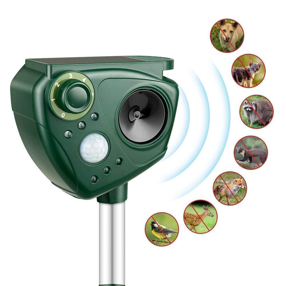 LOFFU Repelente de Gatos, Repelente ultrasónico para Animales, con LED, Carga Solar, ristente al Agua, Uso en Exteriores, Tierra de Jardinería y de ...