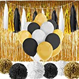 Arts & Crafts : Paxcoo 52 Pcs Black and Gold Party Decorations with Balloons Tissue Pom Poms Tassel Garland for Happy New Year New Year's Eve Party Decorations