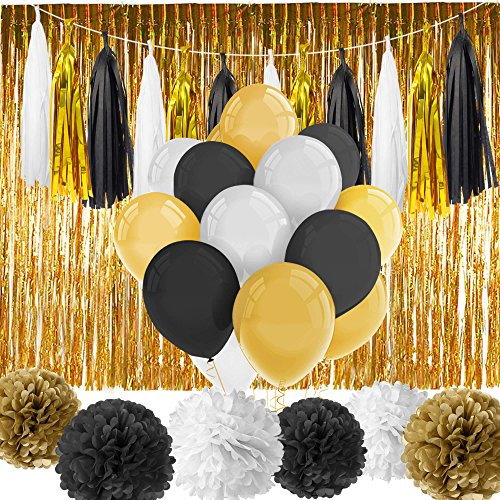 Foil Happy New Year Streamer - Paxcoo 52 Pcs Black and Gold Party Decorations with Balloons Tissue Pom Poms Tassel Garland for Happy New Year New Year's Eve Party Decorations