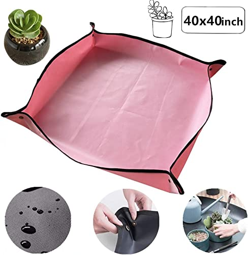 Plant Repotting Square Mat Indoor Garden Transplanting Mat Waterproof Thicken Transplanting Tidy Square Mat Potting Tarp 40×40 inch Pink