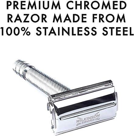 Wilkinson Sword Kit de afeitado Clásico manual - Set regalo para hombres con maquinilla vintage + 5 cuchillas de doble hoja + Brocha de afeitar + jabón de afeitado