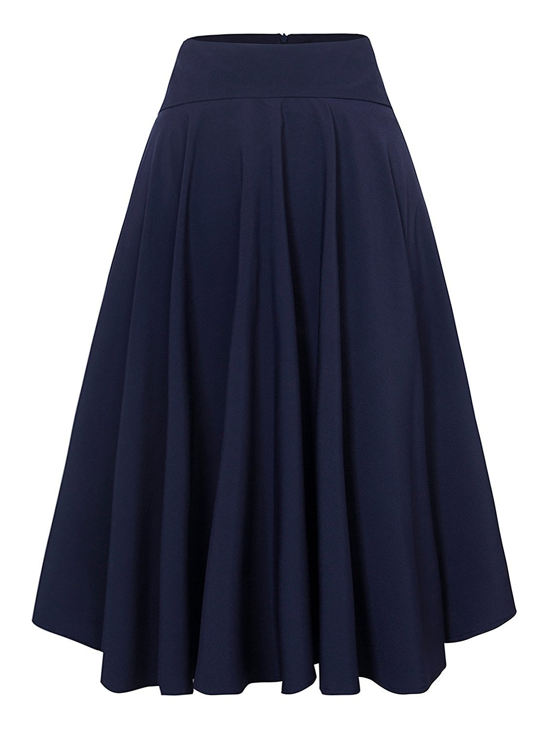 CHOiES record your inspired fashion Women's Royal Blue Solid High Waist Trumpet Midi Skirt(1X, Royal Blue