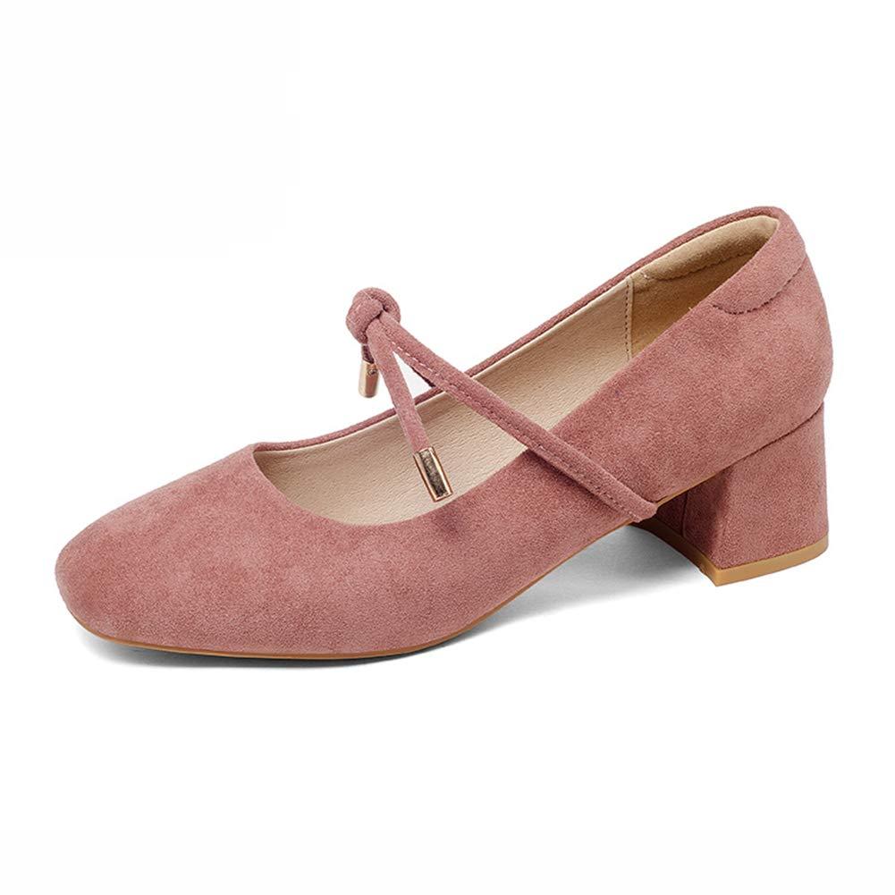 Scarpe donna HWF Scarpe Bocca Superficiale da donna Punta quadrata Scarpe autunno-autunno moda femminile (Colore : Bean red, dimensioni : 35)Bean Red