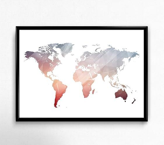 Amazon pink world map poster size 5x7 8x10 11x14 and more pink world map poster size 5x7 8x10 11x14 and more great geometric gumiabroncs Choice Image