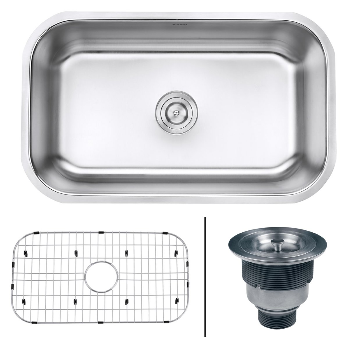 Ruvati RVM4250 Undermount 16 Gauge 30'' Kitchen Single Bowl Sink, Stainless Steel by Ruvati