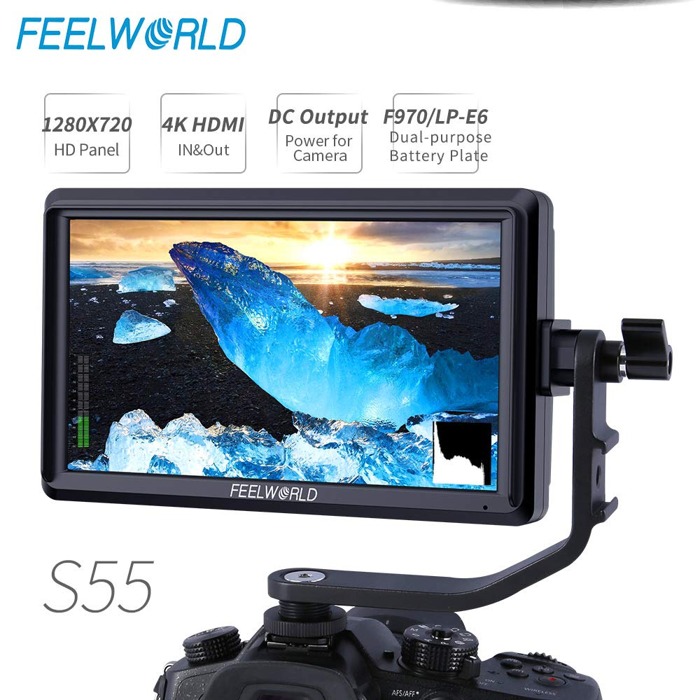 FEELWORLD S55 5.5 inch Camera DSLR Field Monitor Small Full HD 1280x720 IPS Video Peaking Focus Assist with 4K HDMI 8.4V DC Input Output Include Tilt Arm by FEELWORLD