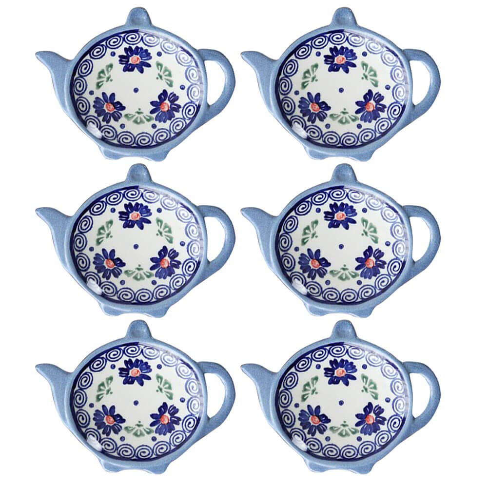 Wiza Ceramic Tea Bag Coasters, Teabag Caddy Holder Plate Tidy, Polish Pottery, 4 inch, Set of 6 by Wiza