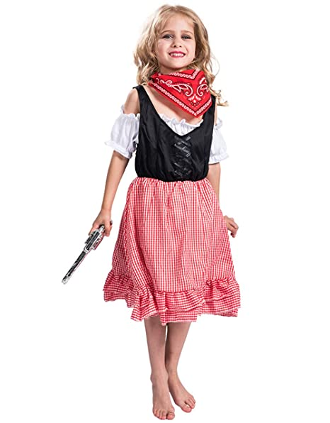 Amazon Com Girls Christmas Cowgirl Costume With Scarf Lovely Party