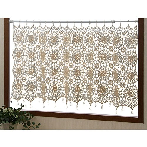 The cafe curtain with handmade crochet knitting transparent beads 100 ~ 50cm beige cotton 100%