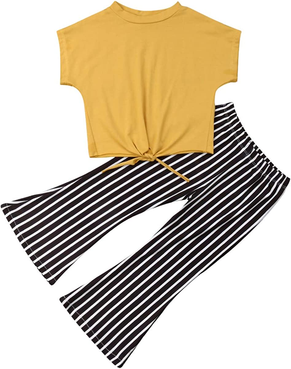 Toddler Kids Girl Leopard Bell Bottom Outfit Yellow Crop Top Shirt + Flare Striped Pants Fall Clothes Set