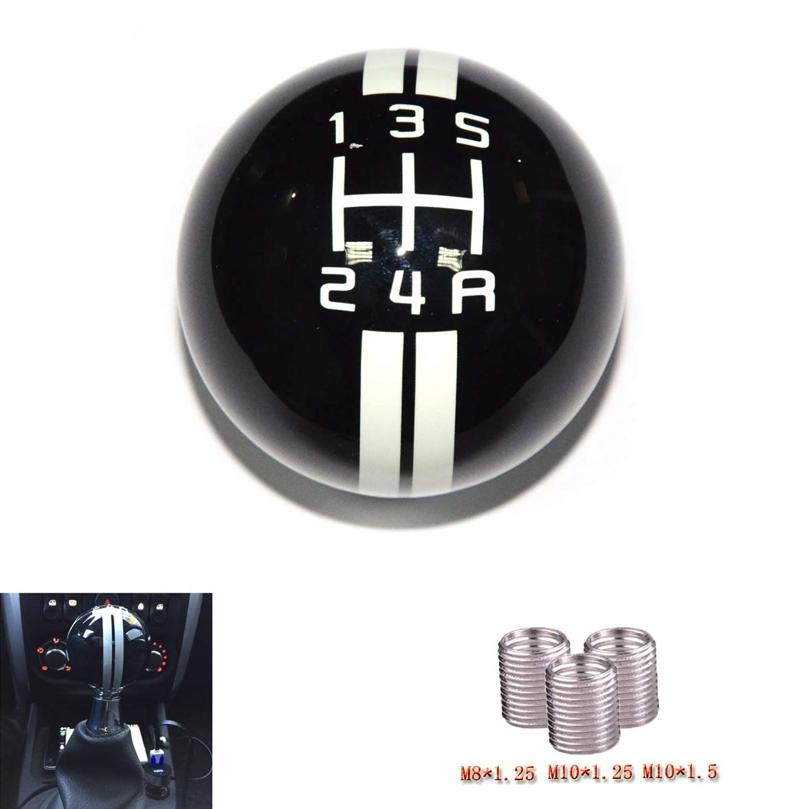 SMKJ 5 Speed Mustang Red line Shift Knob Black Car Gear Stick Shift Shifter Knob Automatic Manual Shifter Knob Suitable for Most Transmission Vehicles