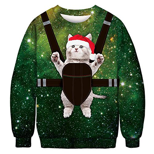 Fiaya Autumn Winter Unisex Fashion Christmas 3D Funny Printed Long Sleeve Top Pullover Sweatshirt for Couple Loves (Cat-M, XL)