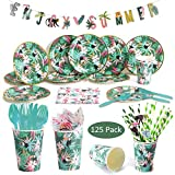 DreamJ 125 Pack Jungle Party Disposable Tableware Set, Hawaiian Luau Party Supplies with Plates, Banner, Knives, Spoons, Forks, Cups and Napkins Perfect for Birthdays and Summer Luau Serves 12